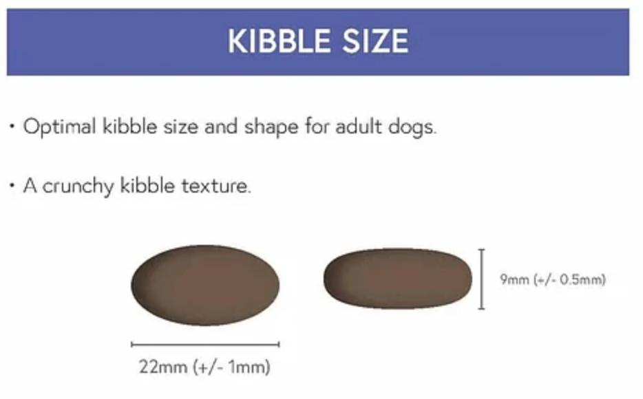 baileys Super Premium Kibble Size Guide